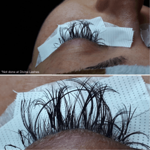 Client with damaged lashes from a mega volume set from another salon