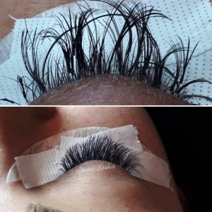 Before and after picture of a client getting a volume set of eyelash extensions