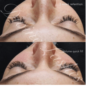 Woman shows retention of her volume eyelash extensions after 3 weeks.