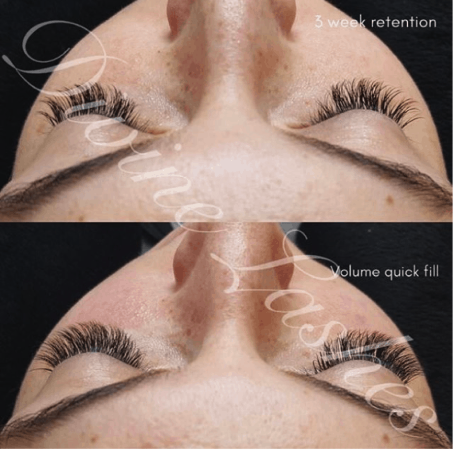 Before and after picture of volume eyelash extensions after 3 weeks.