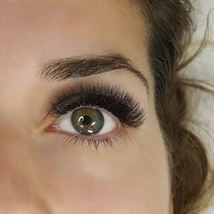 Woman with divine volume eyelash extensions.