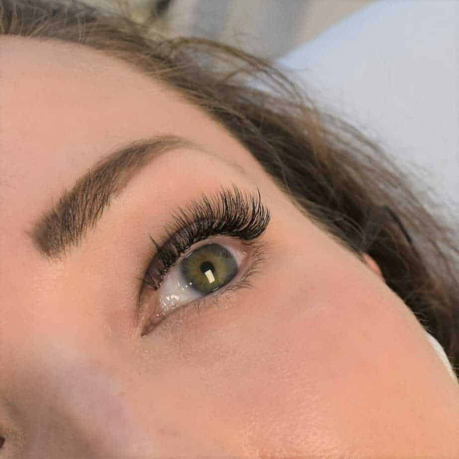 Woman with volume eyelash extensions.