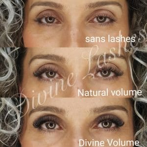 Woman without eyelash extension, with natural volume and divine volume