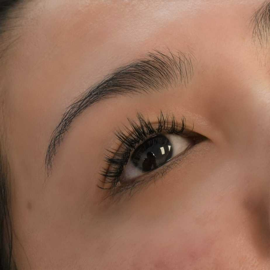 Woman with natural classic eyelash extension