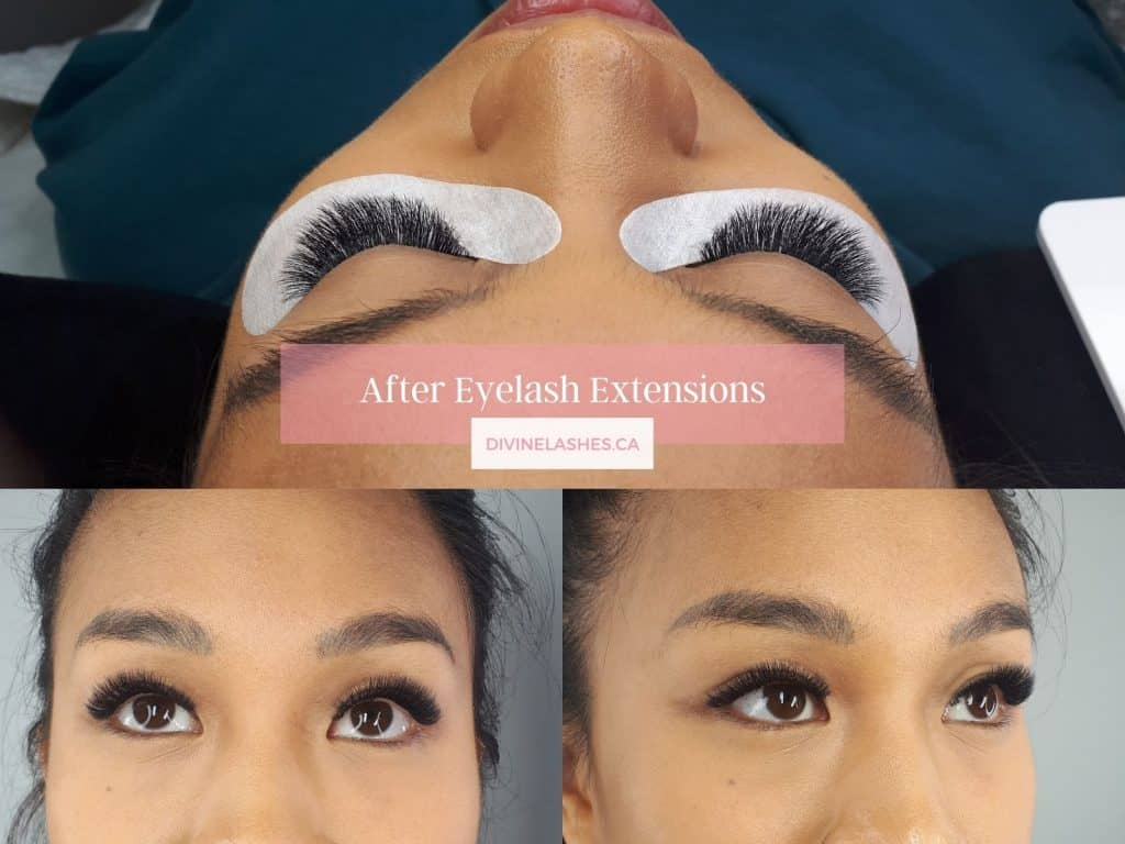 Woman in different angles after mega volume eyelash extensions
