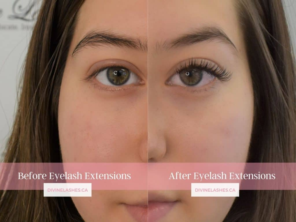 Before and after picture of a woman with classic eyelash extensions