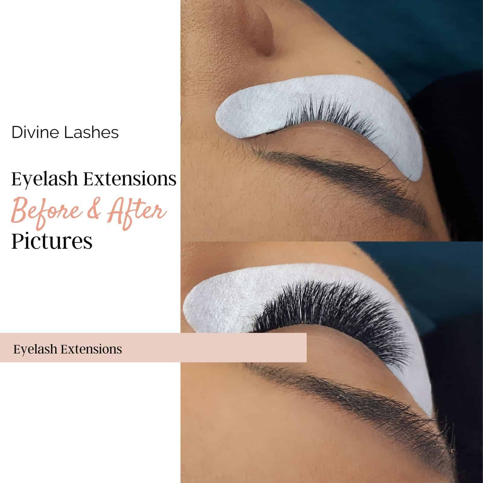 Before and after picture of a woman with eyelash extensions