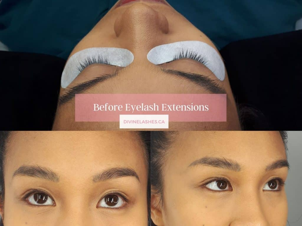 Woman in different angles before mega volume eyelash extensions