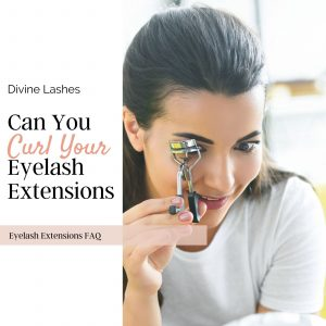 Woman curling her eyelash extensions