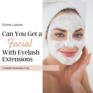 Woman having a facial with eyelash extensions
