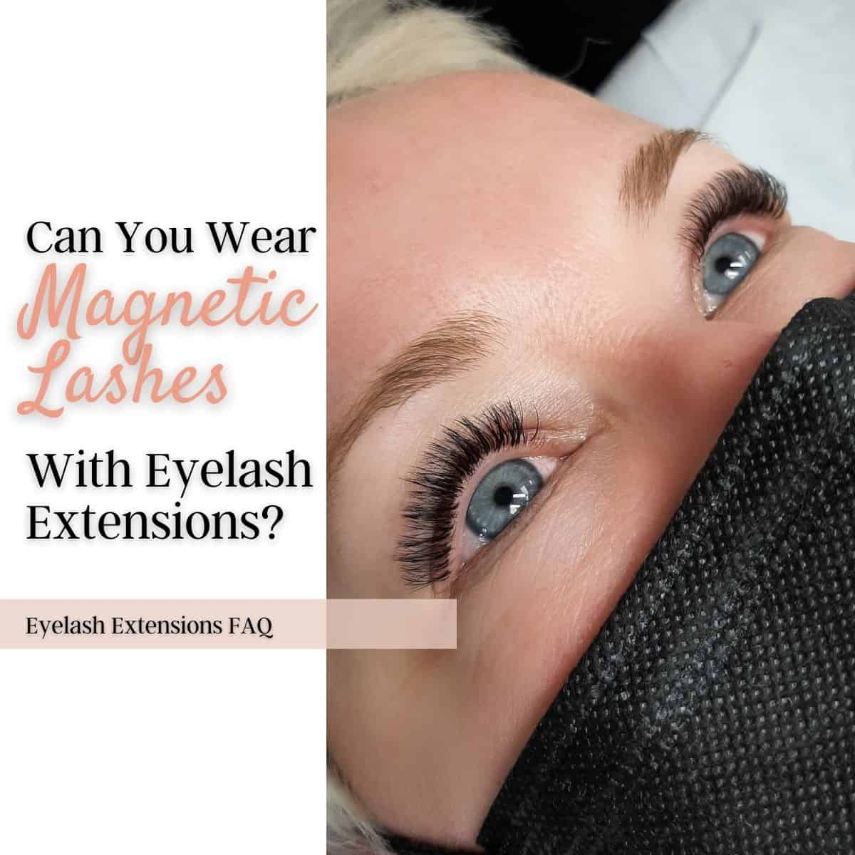 Woman wearing eyelash extensions with eyes opened