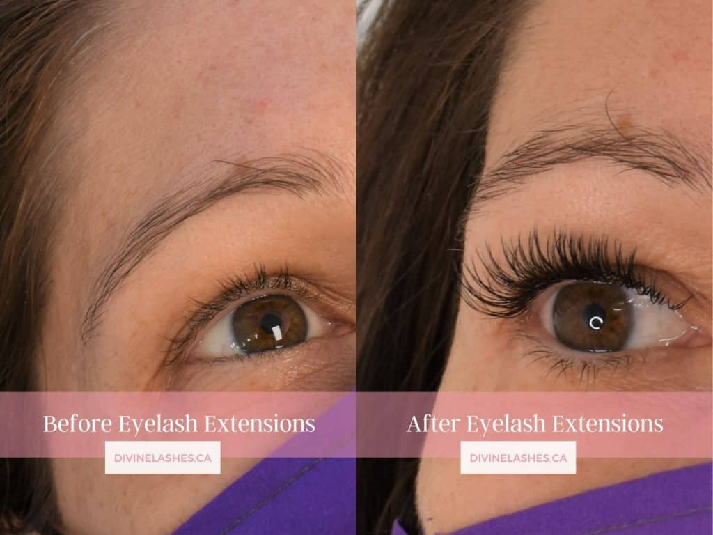 Classic natural eyelash extension set before and after pictures.