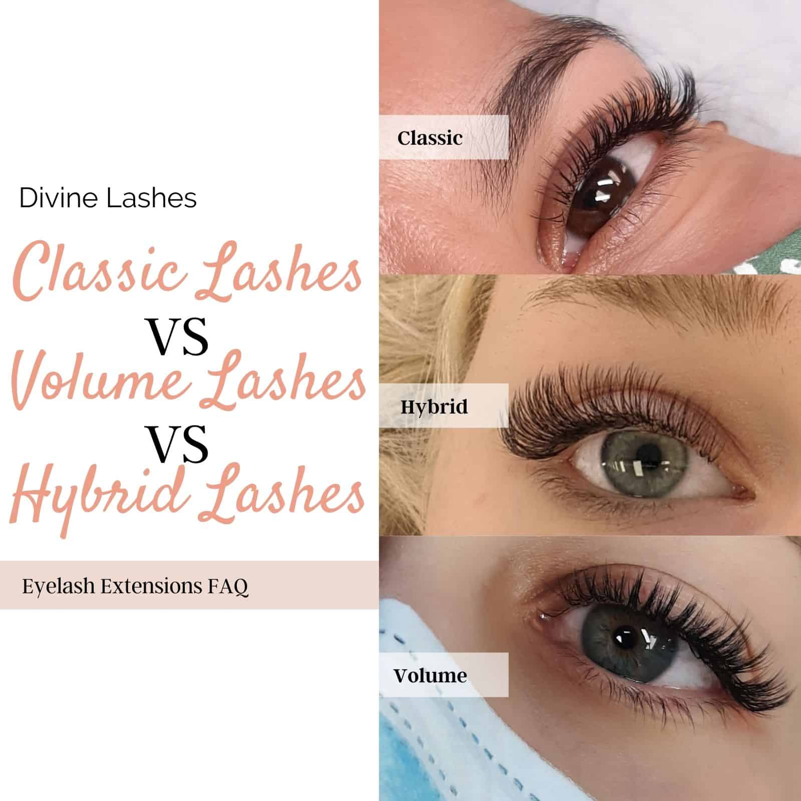 classic vs hybrid vs volume lashes 1