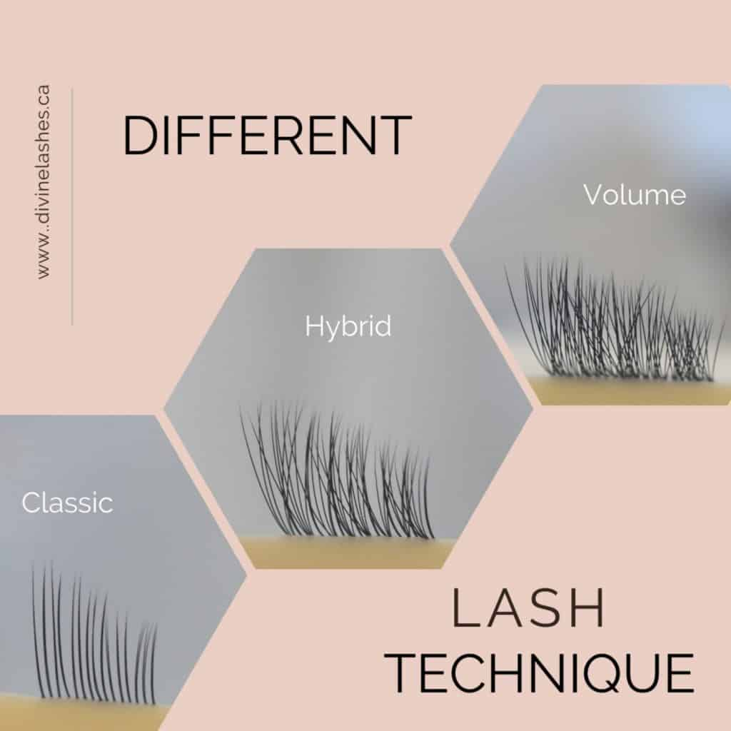 Classic lashes vs volume lashes vs hybrid lashes