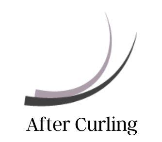 Eyelash extension on natural lash after using a curler