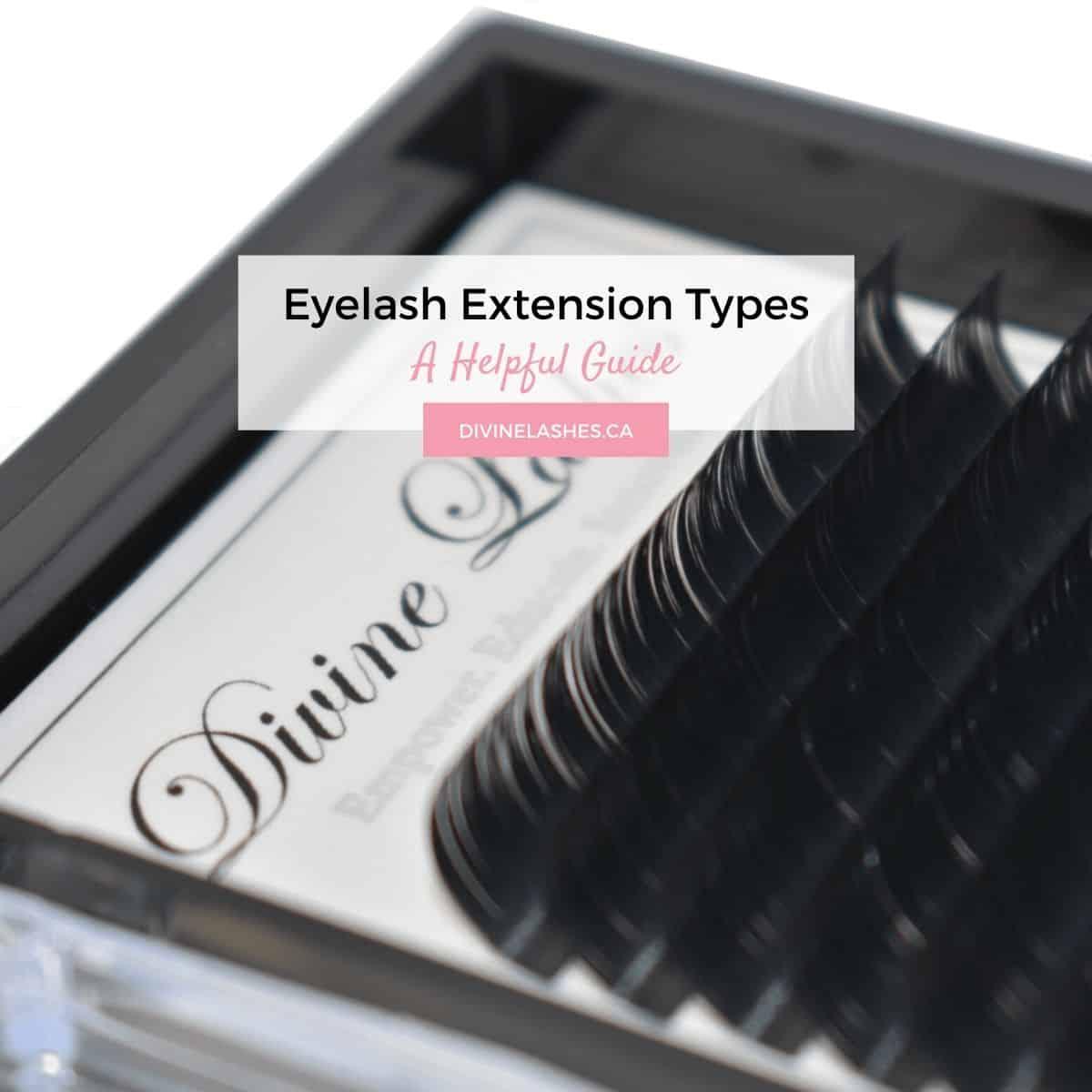 Eyelash tray with several types of eyelash extensions