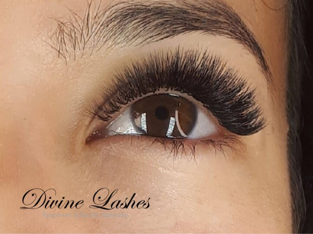 Volume eyelash extension set done by Divine Lashes
