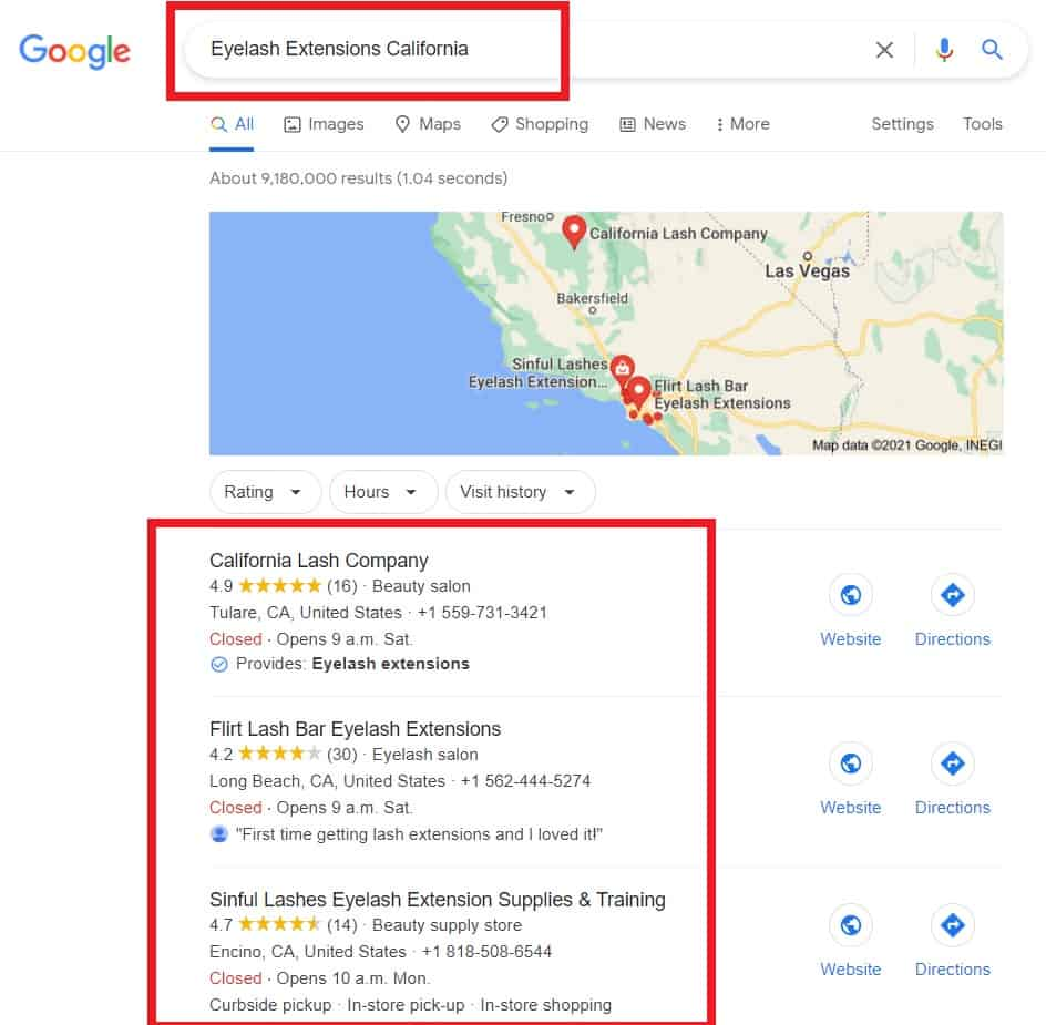 Google results for study on eyelash extension costs