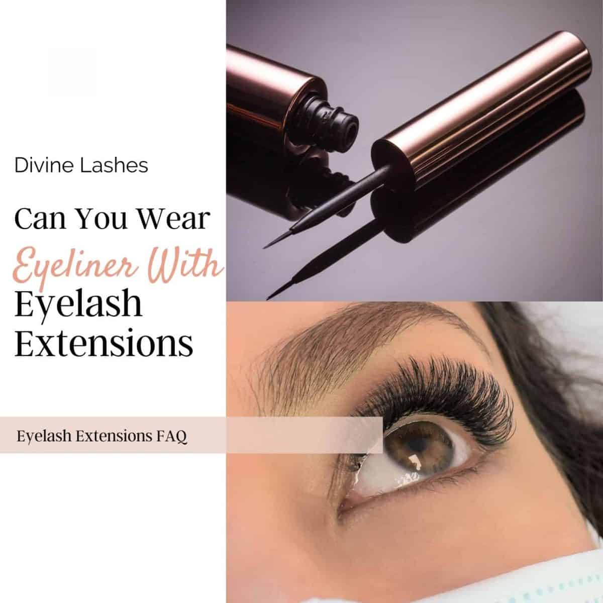 Woman wearing eyeliner with eyelash extensions