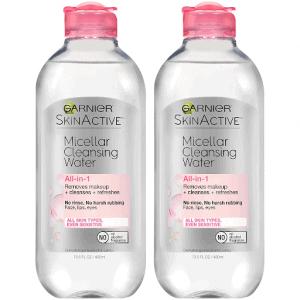 Two bottles of garnier micellar water