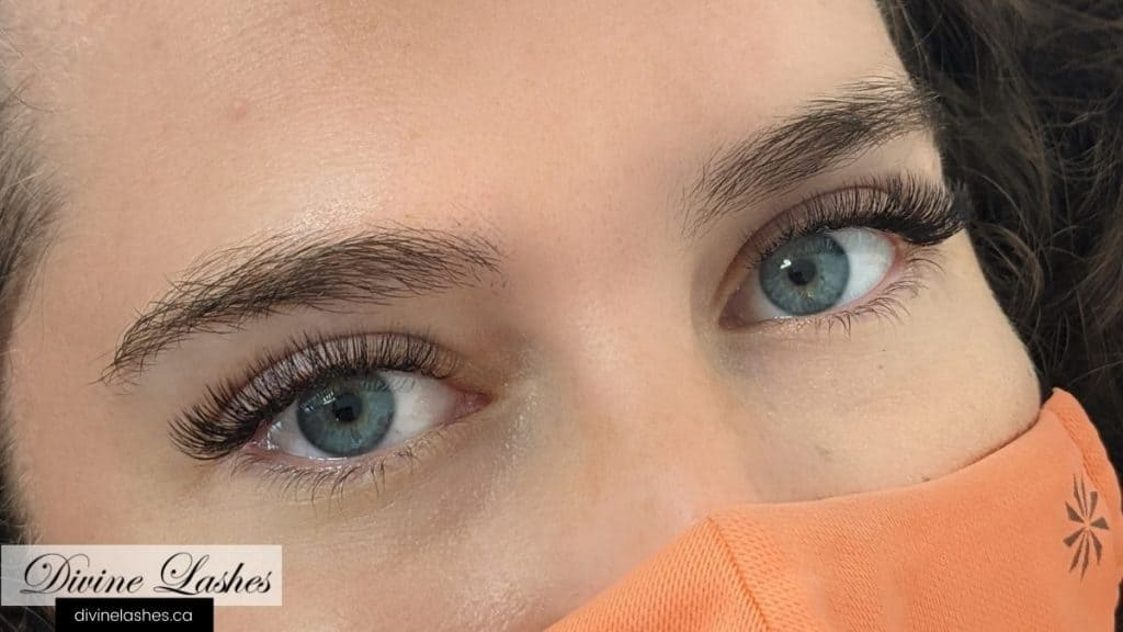 Classic eyelash extensions with eyes opened