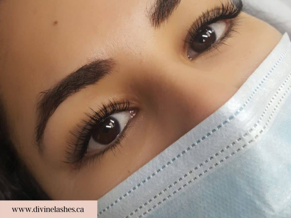 Woman with a natural sweep eyelash extension style