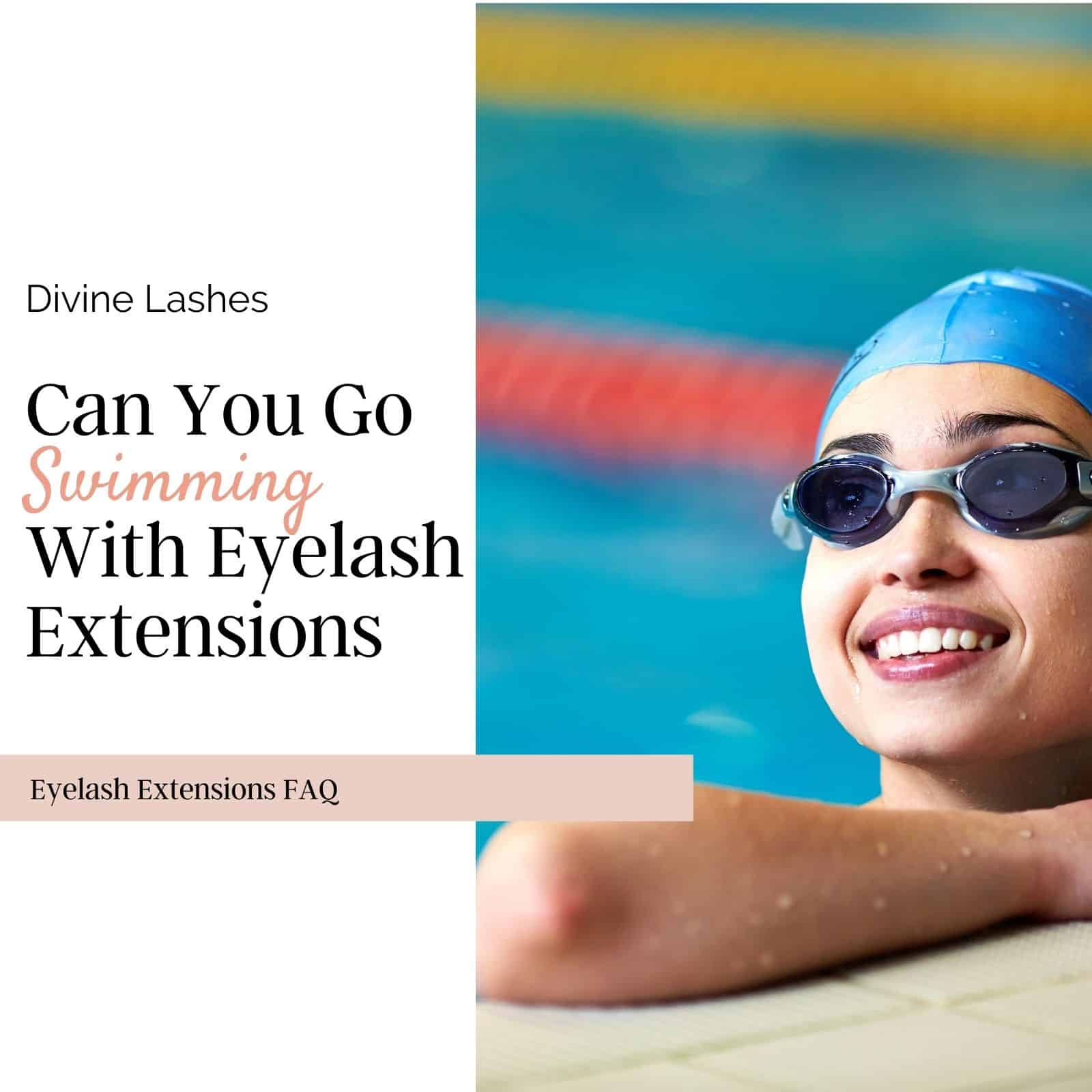 Woman swimming with eyelash extensions